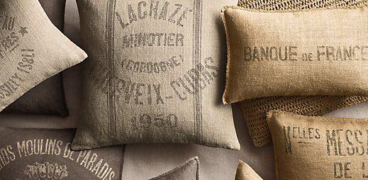 Grain-Sack Pillows. I want them all.