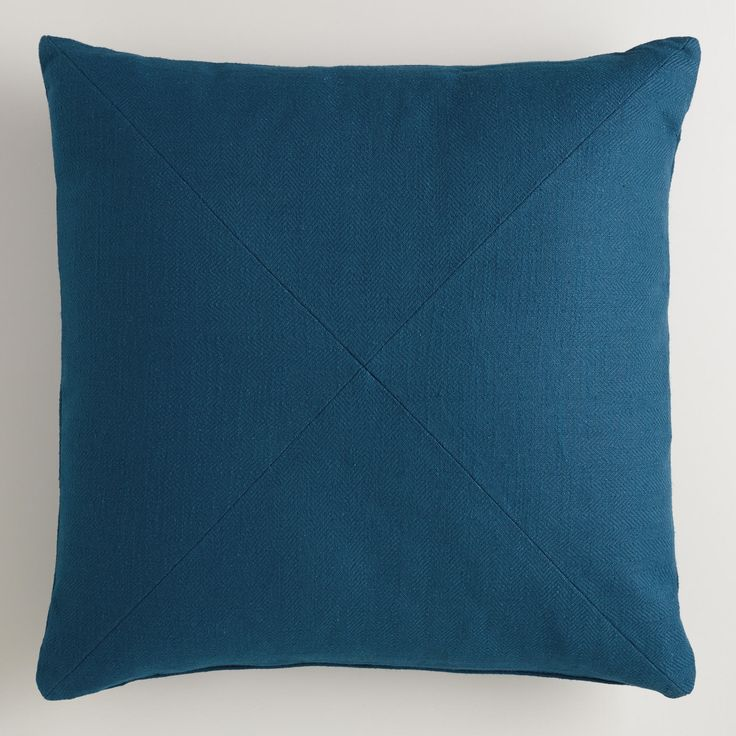 Night Blue Herringbone Cotton Throw Pillow | World Market