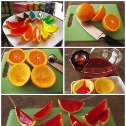 Rainbow Gelatin Orange Wedges | Lets Party! | Pinterest