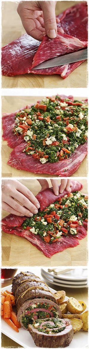 Stuffed flank steak | Delicious Recipes | Pinterest