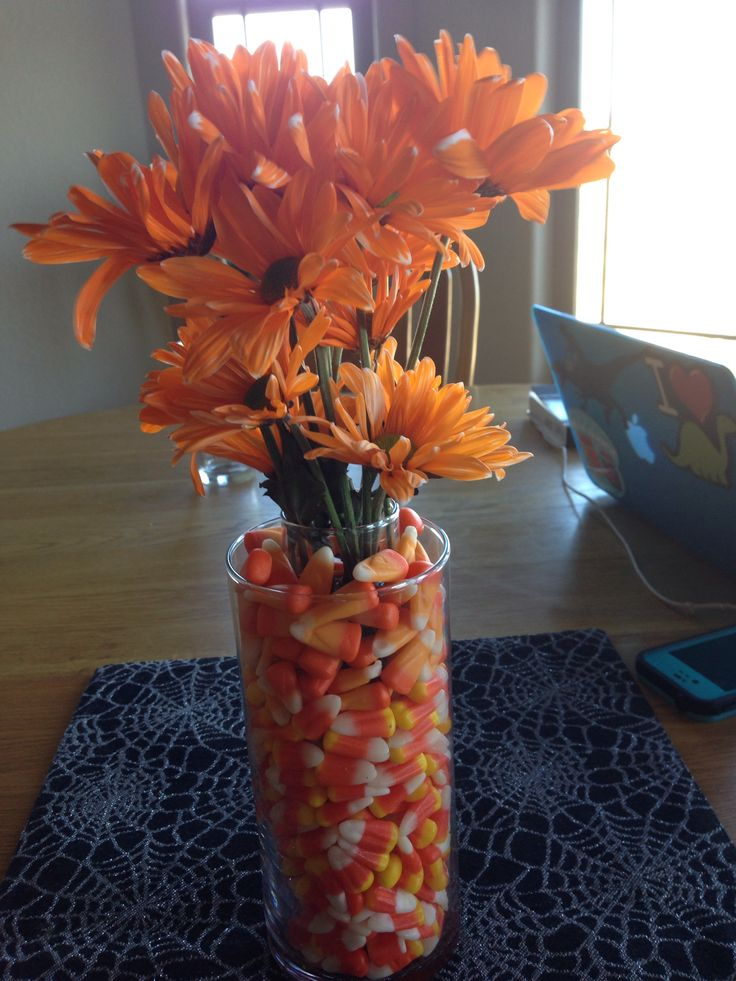 Candy Corn Centerpiece : Candy corn floral centerpiece sweet center peices