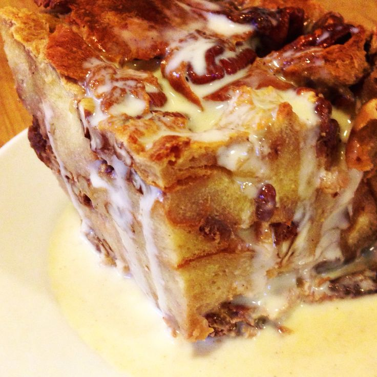 Maple pecan bread pudding with maple Creme anglaise