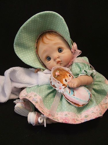 Mini ooak polymer clay baby art doll collectable sculpt by jenna ra