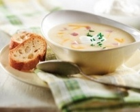 Potato, Cheddar and Ham Soup with Chive (Not as calorie-rich as I ...