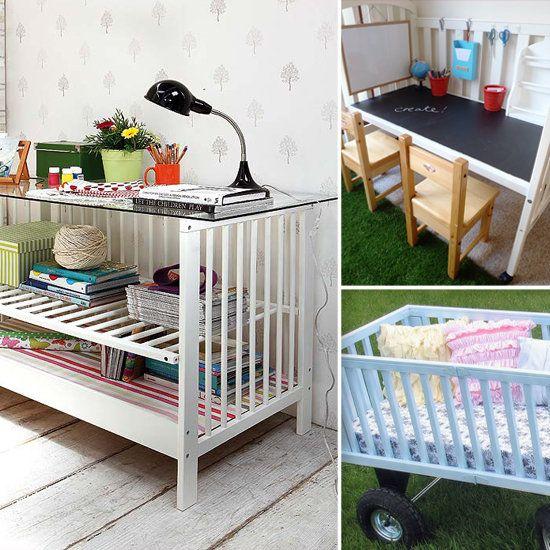 Repurpose a crib into a bookshelf, desk, etc.