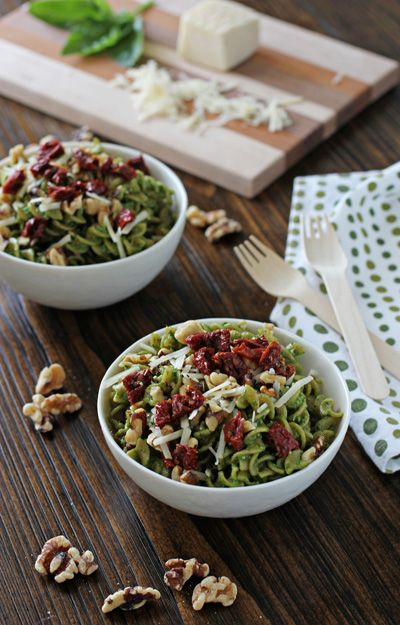 Spinach Pesto Pasta with Sun-Dried Tomatoes and Walnuts - Cookie ...