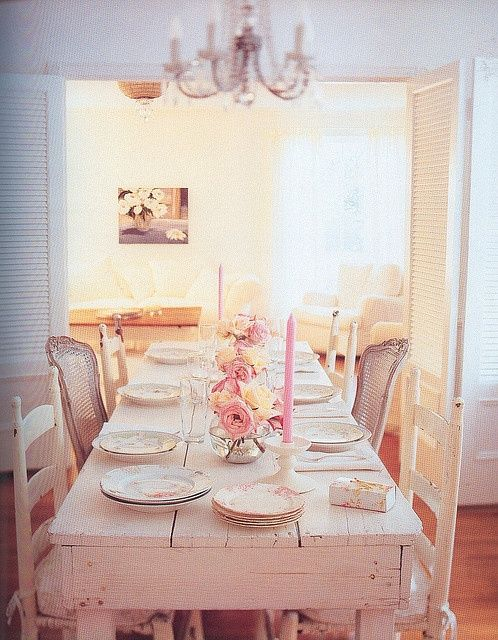 Pink dining room table shabby chic pinterest - Shabby chic dining rooms ...