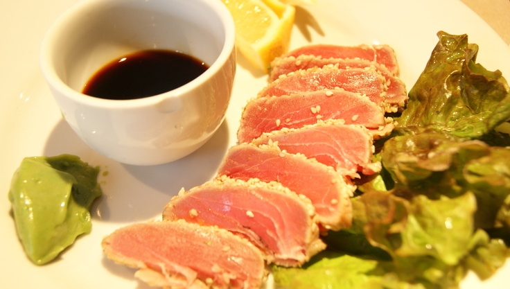 Sesame-crusted pan-seared tuna with sweet soy dip