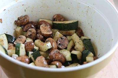 ... Recipe for Roasted Balsamic Zucchini and Mushrooms with Feta and Thyme