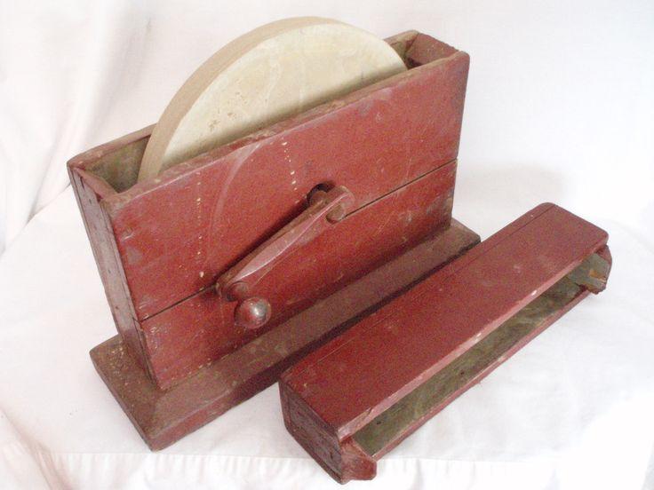 Primitive grindstone hand cranked wood box antique tool ships free