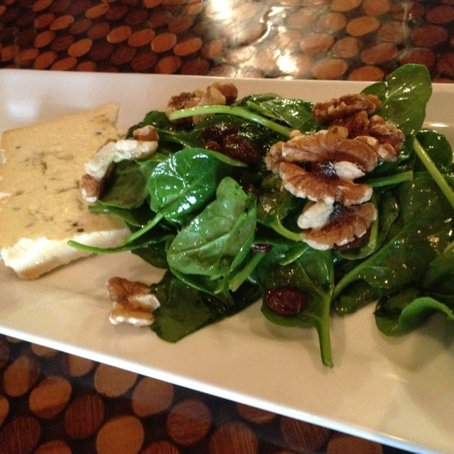 ... bleu cheese, walnuts, and roasted pear and olive oil emulsification