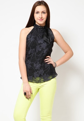 Black coloured top for women by Species. Made from polyester blend
