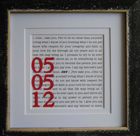 Wedding Gift Ideas For Fiance Male : First Anniversary Gift for paper, wedding vows with the wedding date ...