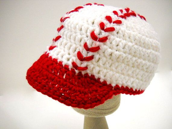 crochet baby hat baseball cap with blue or trim