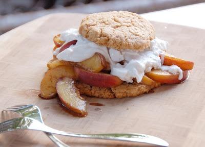 Brown Sugar Shortcake w/Bourbon Peaches & Coconut Whipped Cream