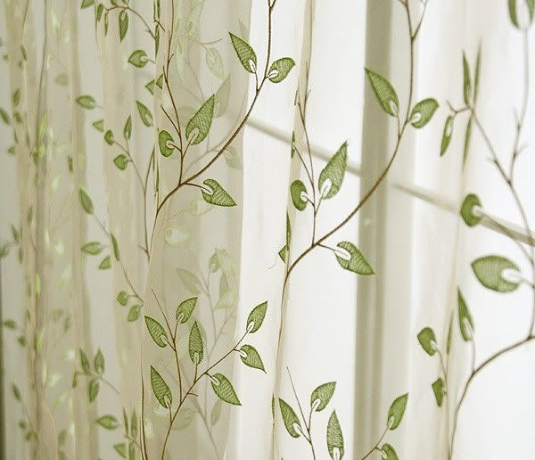 sheer leaf pattern drapes | ... Charming Country Style Green Leaves ...