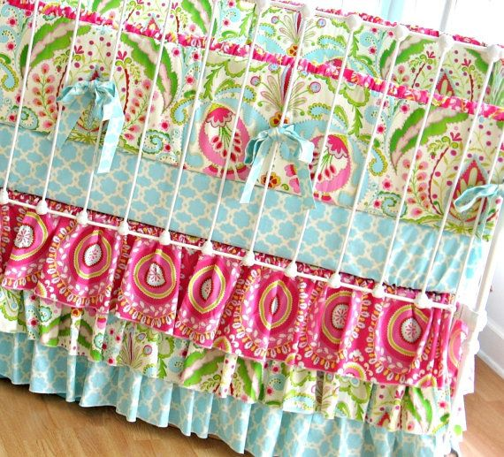 If I was having another baby, and she happened to be a girl, I would be ALLLLL over this baby bedding.  Busy?  Yes.  But gorgeous!  I wish I had a baby to make this for!