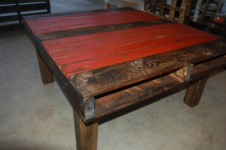Upcycled Coffee Pallet Wood Table Two Tone Distressed Red Stained Dar
