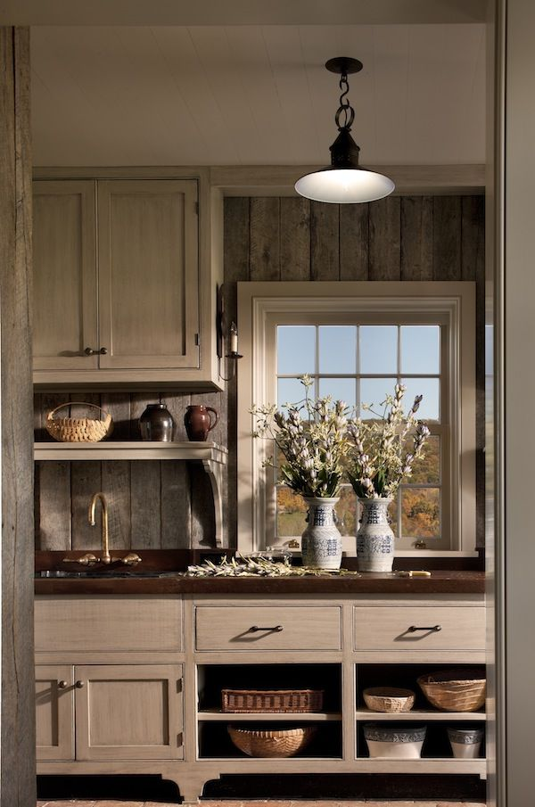 Barn Siding With Coordinating Natural Wood Cabinetry With Solid Oak
