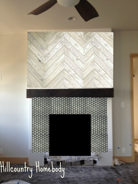 Herringbone Grey Penny Tile Fireplace Hill Country Homebody