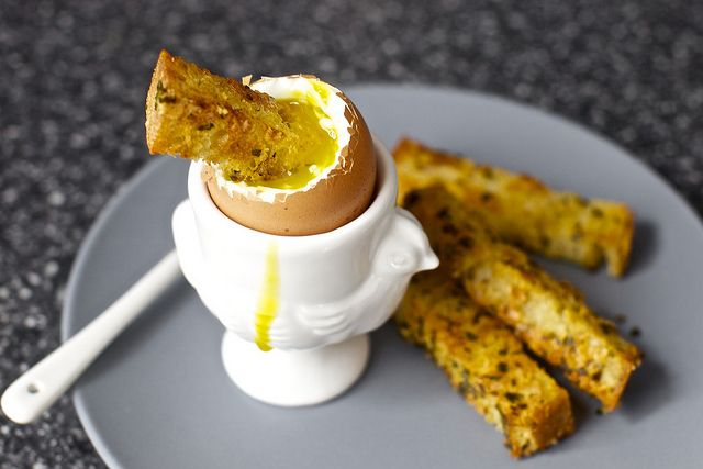 soft eggs with butter herb gruyere toasts