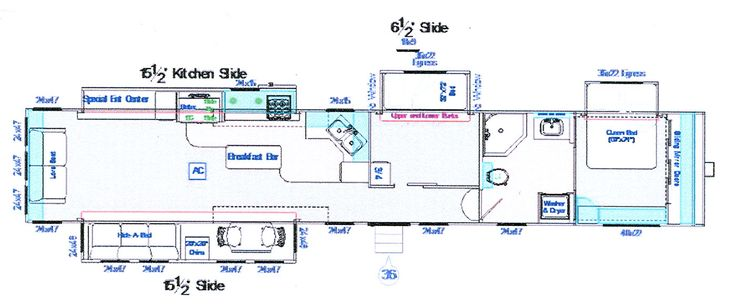 48 ft. Fifth Wheel Floor Plan - Gelcoat - Triple Axle #3