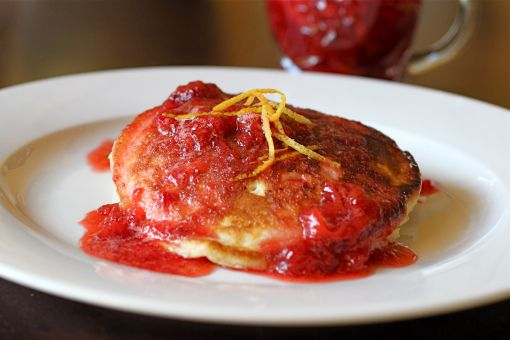 ... this: lemon ricotta pancakes , strawberry sauce and ricotta pancakes