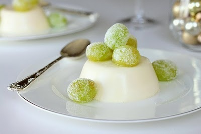 Champagne Panna Cotta with Sugared Grapes