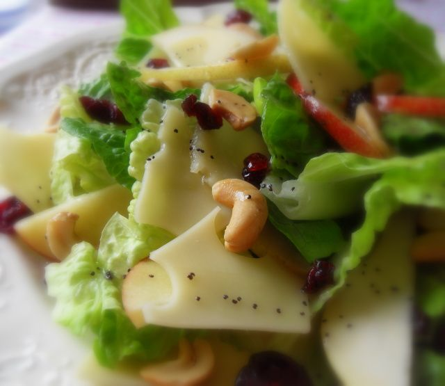 Pear apple cashew cheese dried cranberry-winter salad with lemon ...