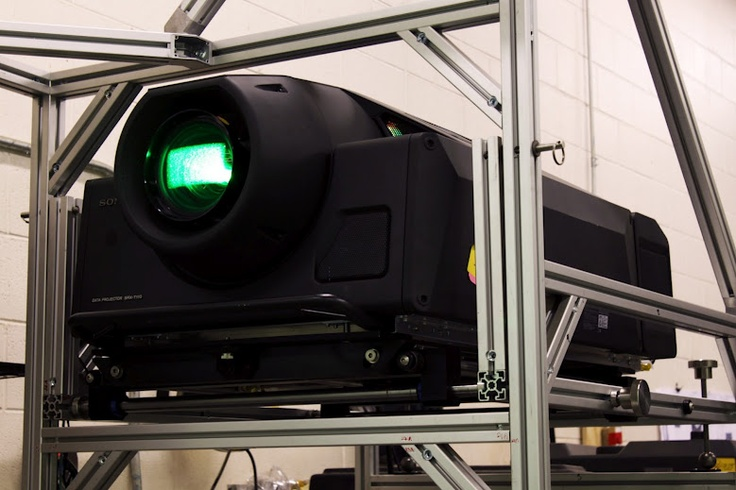 """""""Brand new SXRD T-110 4K projector ready for integration! This 11K lumen projector will light a 25' IGI PowerWall from a custom motorized projection structure."""" - Photo by IGI"""