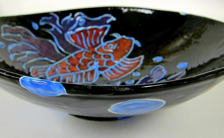 Low fire koi fish bowl ceramics pinterest for Koi fish bowl
