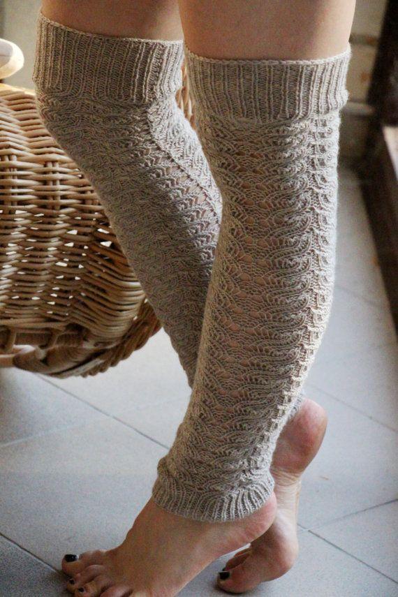 Knitting Pattern For Over The Knee Socks : Grey beige knitted over the knee socks Knitting wool leg ...