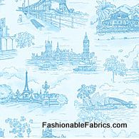 Fabric... Paddington's Travels Toile in blue by Quilting Treasures