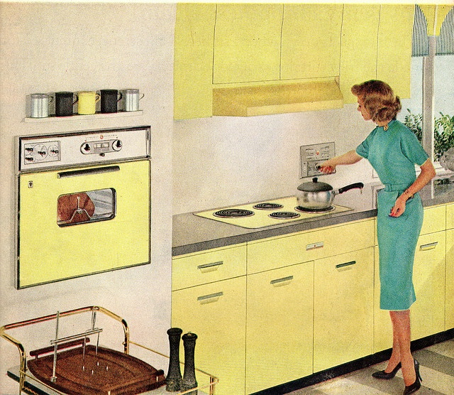 Cheerful lemon yellow steel cabinets @1960 General Electric Built Ins. GE yellow appliances...
