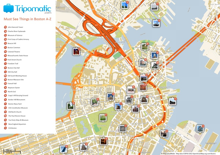 Free Printable Map Of Boston Ma Attractions From