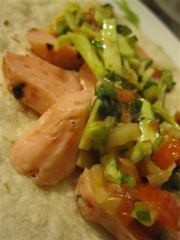 Marinated vegan shrimp tacos with salsa fresca slaw