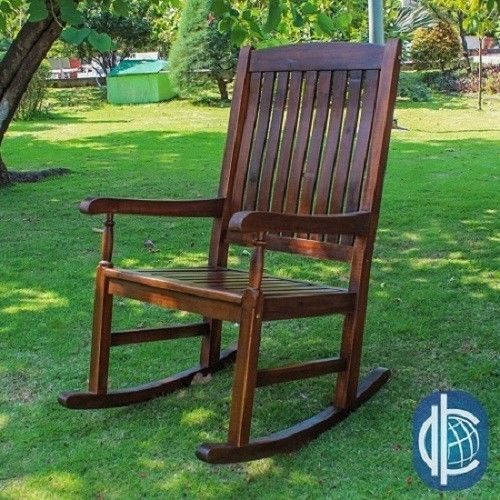 Wooden Rocking Chair Indoor Outdoor Patio Porch Rocker Hardwood Nurse ...