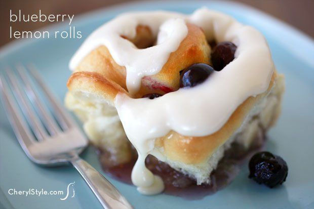 Iced blueberry lemon sweet rolls made with frozen dough