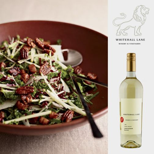 "We'd pair this ""Kale and Apple Salad with Pancetta and Candied Pecan..."