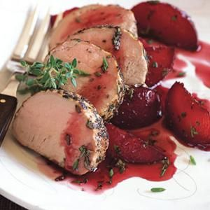 Roasted Pork Loin with Poached Plums - Boozy, spiced poached plums are ...
