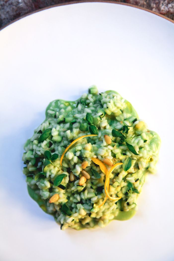 Zucchini Risotto with a Sweet Corn and Baby Spinach Broth finished ...
