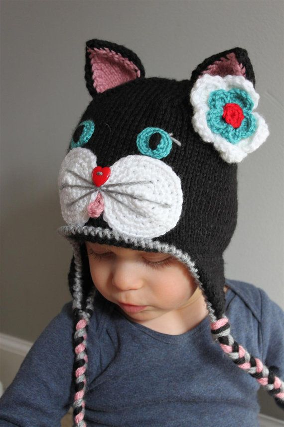 Newborn Crochet Cat Hat Pattern : cat hat on etsy Crochet animal hats Pinterest