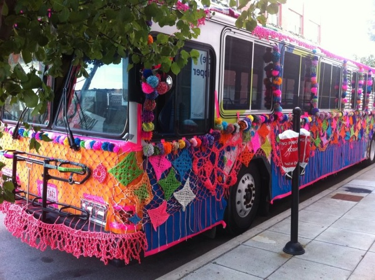 Commu-knitty bus?  knit bombing a bus!