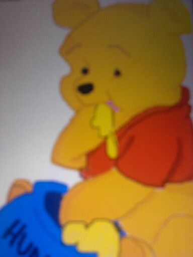 Baby Pooh bear eating honey | Crayons & colored pencils ...