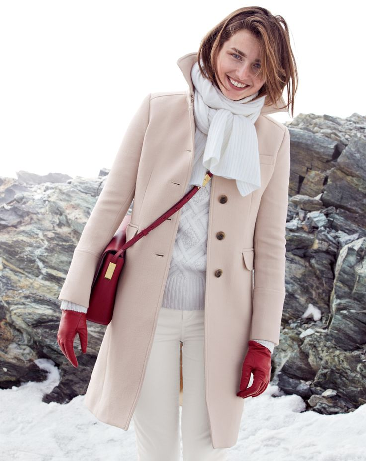 J.Crew double-cloth Metro coat with Thinsulate®, Cambridge cable turtleneck sweater and the Claremont purse.