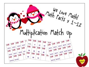 Penguin Valentine Multiplication Facts 1 - 12