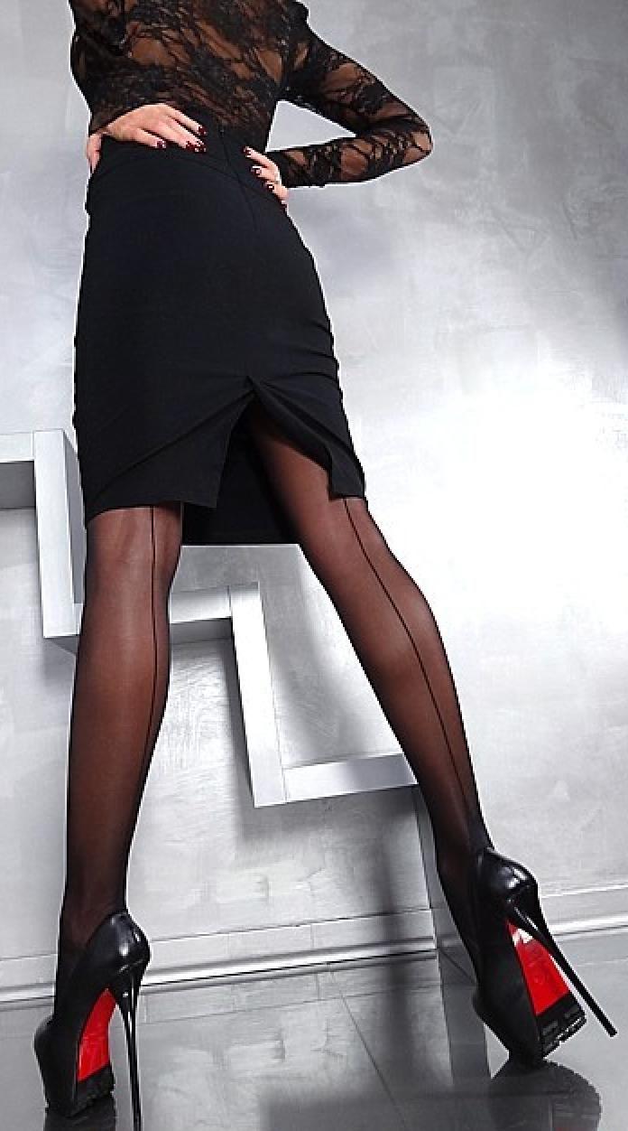 Pencil skirt seamed stockings 10