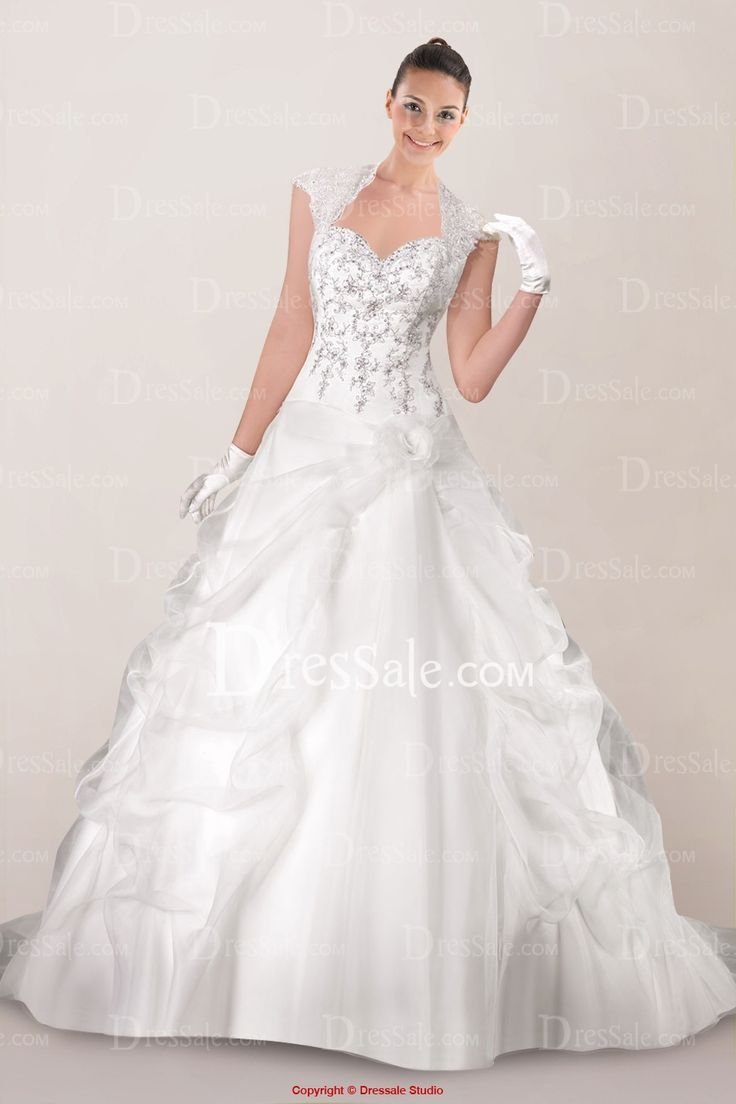 gorgeous queen anne neckline a line wedding dress with
