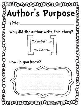 Comprehension Skill Graphic Organizer: Author's Purpose