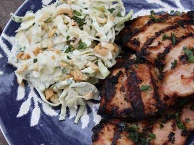 chicken satay chicken satay with peanut cilantro coleslaw cilantro ...